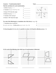 Geometry – Transformations Quiz B  Name: _____________________________