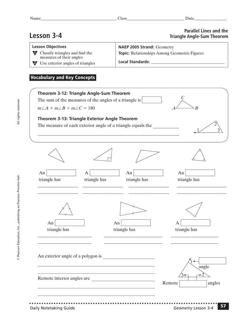 Lesson 22-22 Parallel Lines and the Triangle Angle-Sum Theorem Throughout Triangle Angle Sum Worksheet