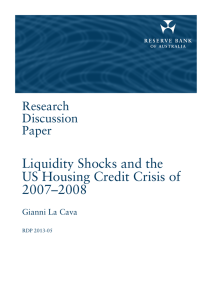 Liquidity Shocks and the US Housing Credit Crisis of 2007–2008 Research