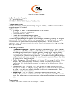 Resident Director Job Description TITLE: Resident Director