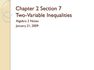 Chapter 2 Section 7 Two-Variable Inequalities Algebra 2 Notes January 21, 2009