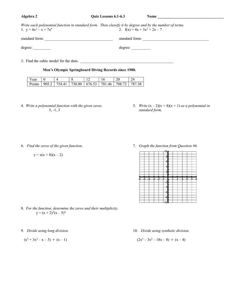 Algebra 2 quiz lessons 61 63 name falaconquin