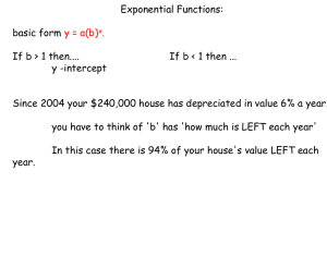 Exponential Functions: basic form If b > 1 then....