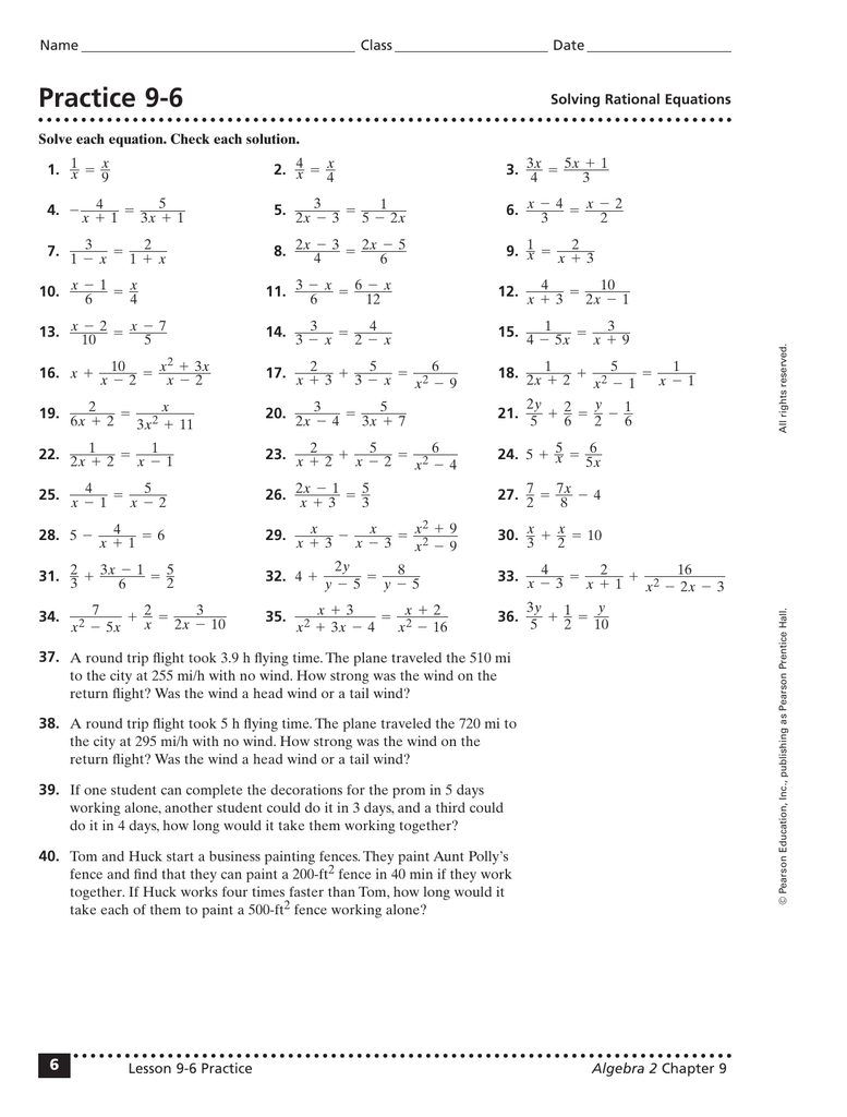 8 6 Practice Solving Rational Equations And Inequalities ...