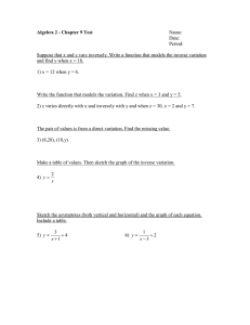 Algebra 2 - Chapter 9 Test  Name: Date: