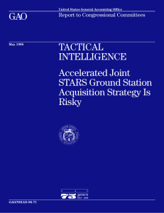 GAO TACTICAL INTELLIGENCE Accelerated Joint