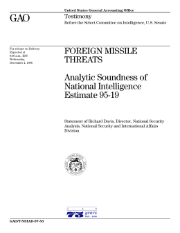 GAO FOREIGN MISSILE THREATS Analytic Soundness of