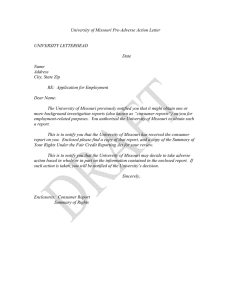 University of Missouri Pre-Adverse Action Letter UNIVERSITY LETTERHEAD Date