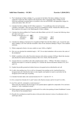 Solid State Chemistry – SS 2011 Exercise 1 (28.04.2011)