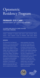Optometric Residency Program PRIMARY EYE CARE DEPARTMENT OF VETERANS AFFAIRS