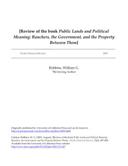 Public Lands and Political Meaning: Ranchers, the Government, and the Property