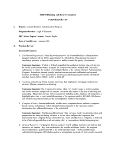 2002­03 Planning and Review Committee  Status Report Review  I.  Degree: