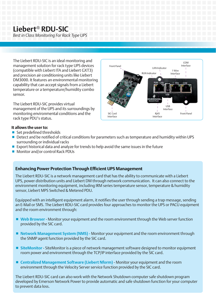 Liebert Best in Class Monitoring For Rack Type UPS ®