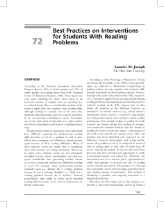72 Best Practices on Interventions for Students With Reading Problems