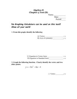 Algebra II Chapter 5 Test (B)  Period:____