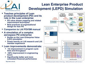 Lean Enterprise Product Development (LEPD) Simulation •