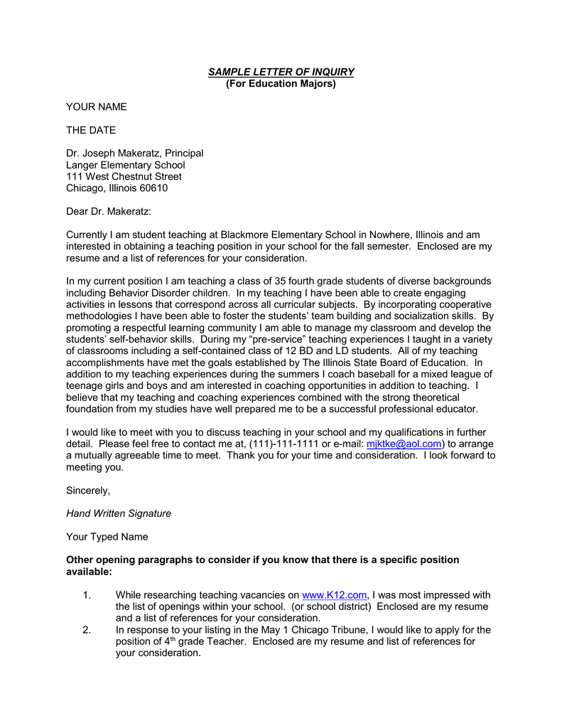 Sample Letter Of Inquiry For Education Majors Your Name