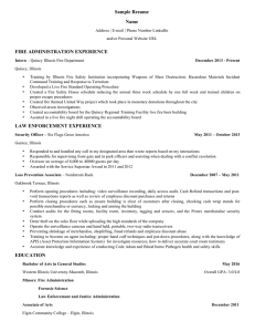 Sample Resume Name FIRE ADMINISTRATION EXPERIENCE
