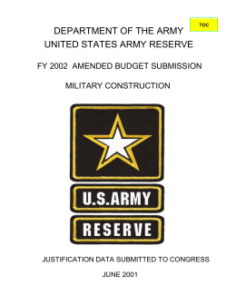 DEPARTMENT OF THE ARMY UNITED STATES ARMY RESERVE MILITARY CONSTRUCTION