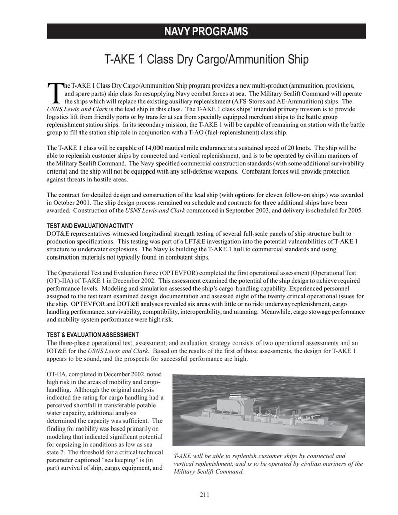 T T-AKE 1 Class Dry Cargo/Ammunition Ship NAVY PROGRAMS