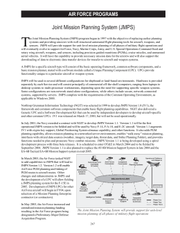 T Joint Mission Planning System (JMPS) AIR FORCE PROGRAMS