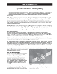 T Space-Based Infrared System (SBIRS) AIR FORCE PROGRAMS