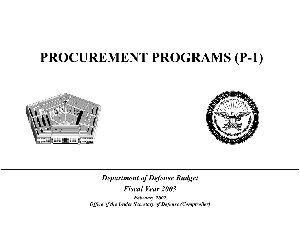PROCUREMENT PROGRAMS (P-1) Department of Defense Budget Fiscal Year on