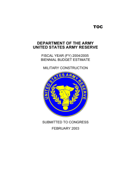 DEPARTMENT OF THE ARMY UNITED STATES ARMY RESERVE TOC