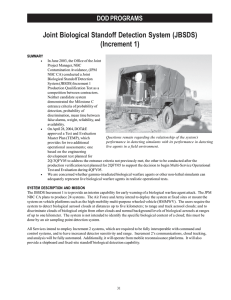 Joint Biological Standoff Detection System (JBSDS) (Increment 1) DOD PROGRAMS