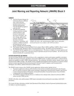 Joint Warning and Reporting Network (JWARN) Block II DOD PROGRAMS