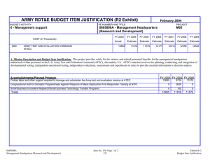 ARMY RDT&E BUDGET ITEM JUSTIFICATION (R2 Exhibit) February 2004