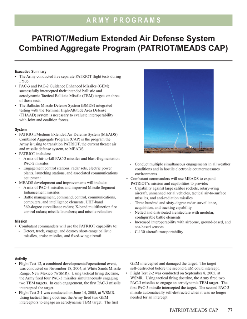 PATRIOT/Medium Extended Air Defense System Combined Aggregate