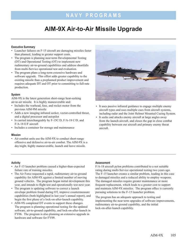 AIM-9X Air-to-Air Missile Upgrade