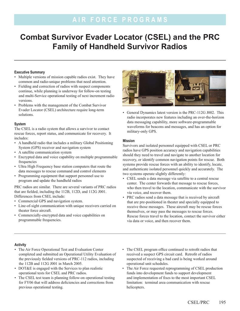 Combat Survivor Evader Locator (CSEL) and the PRC