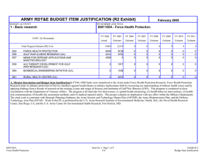 ARMY RDT&E BUDGET ITEM JUSTIFICATION (R2 Exhibit) February 2005