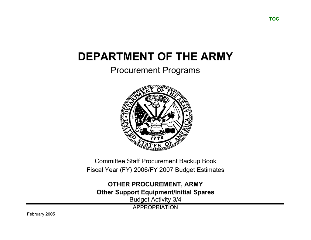 DEPARTMENT OF THE ARMY Procurement Programs on