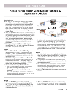 Armed Forces Health Longitudinal Technology Application (AHLTA)