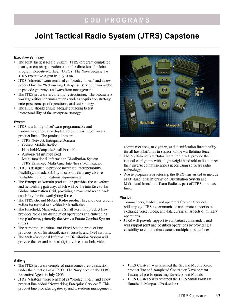 Joint Tactical Radio System (JTRS) Capstone