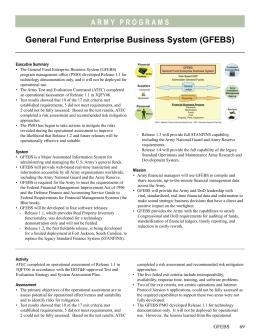 General Fund Enterprise Business System Gfebs