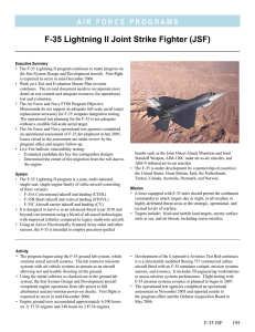 F-35 Lightning II Joint Strike Fighter (JSF)