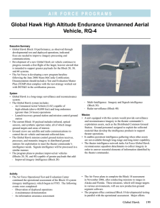 Global Hawk High Altitude Endurance Unmanned Aerial Vehicle, RQ-4