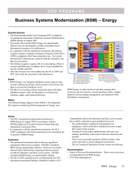 Business Systems Modernization (BSM) – Energy