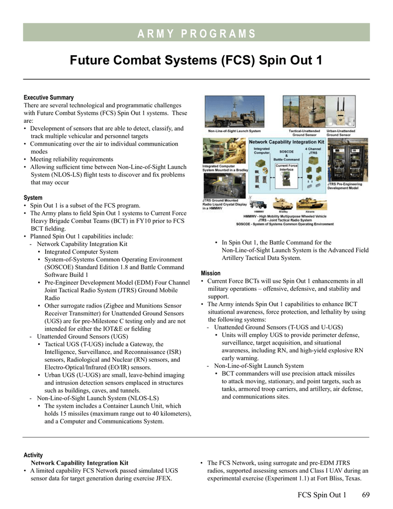 Future Combat Systems (FCS) Spin Out 1
