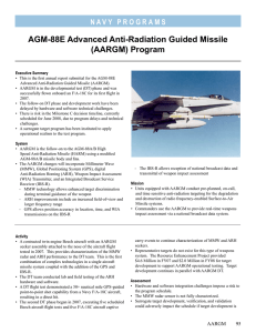 AGM-88E Advanced Anti-Radiation Guided Missile (AARGM) Program