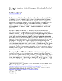 OIG Reports Exclusions, Criminal Actions, and Civil Actions for First... of FY 2005  By Stacey A. Tovino, J.D.
