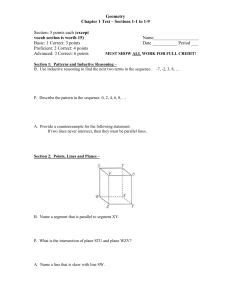 Geometry Chapter 1 Test – Sections 1-1 to 1-9