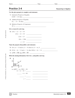 Practice 2-4 Reasoning in Algebra