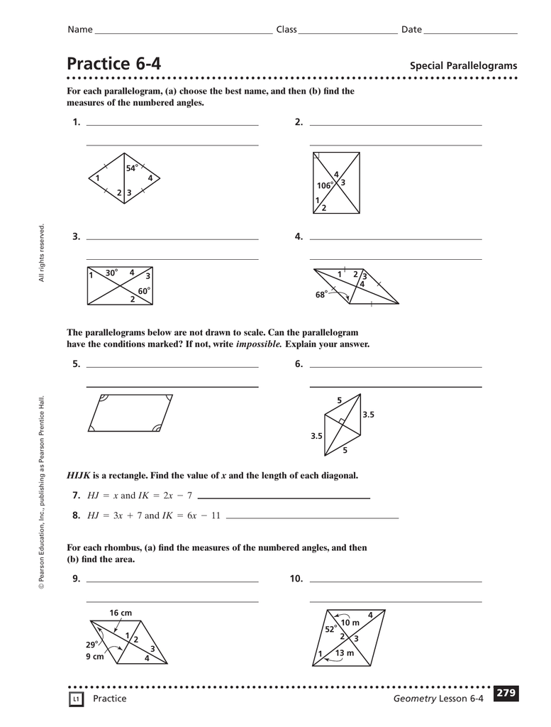 worksheet Properties Of Parallelograms Worksheet Answers practice 6 4 special parallelograms