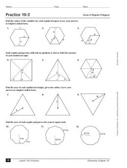 Area of regular polygons worksheet kuta software