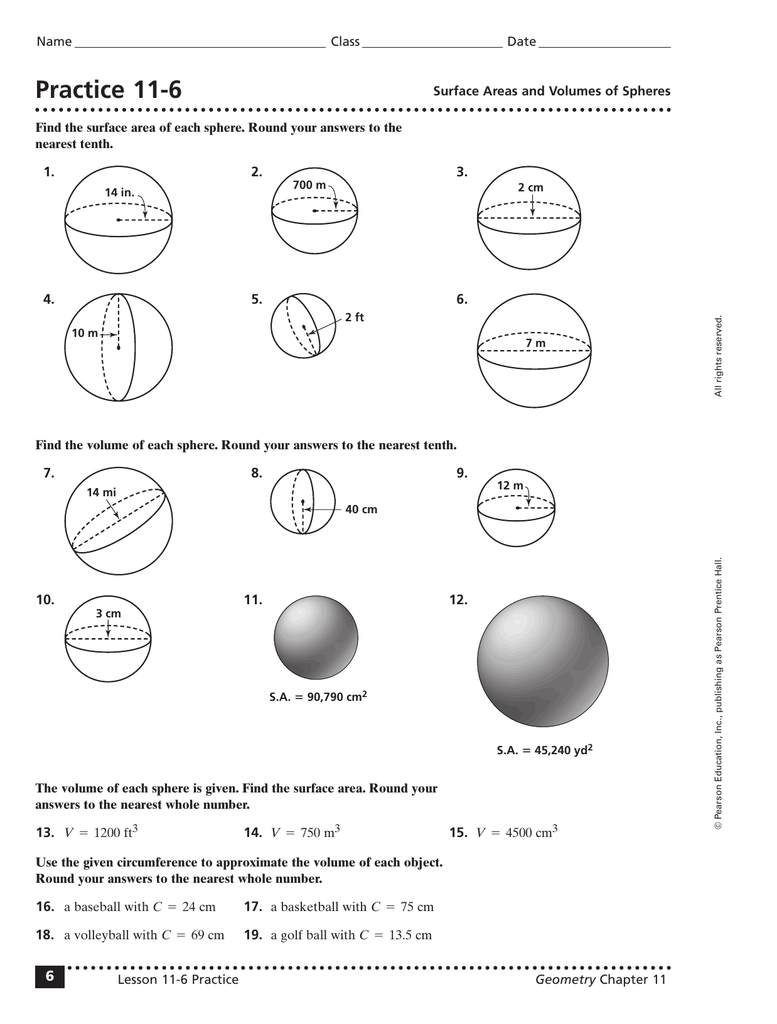 Worksheets Volume Of A Sphere Worksheet practice 11 6